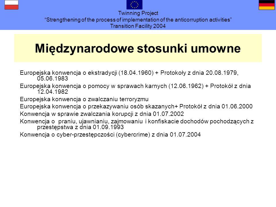 Twinning Project Strengthening of the process of implementation of the anticorruption activities Transition Facility 2004 Międzynarodowe stosunki umowne Europejska konwencja o ekstradycji (18.04.1960) + Protokoły z dnia 20.08.1979, 05.06.1983 Europejska konwencja o pomocy w sprawach karnych (12.06.1962) + Protokół z dnia 12.04.1982 Europejska konwencja o zwalczaniu terroryzmu Europejska konwencja o przekazywaniu osób skazanych+ Protokół z dnia 01.06.2000 Konwencja w sprawie zwalczania korupcji z dnia 01.07.2002 Konwencja o praniu, ujawnianiu, zajmowaniu i konfiskacie dochodów pochodzących z przestępstwa z dnia 01.09.1993 Konwencja o cyber-przestępczości (cybercrime) z dnia 01.07.2004