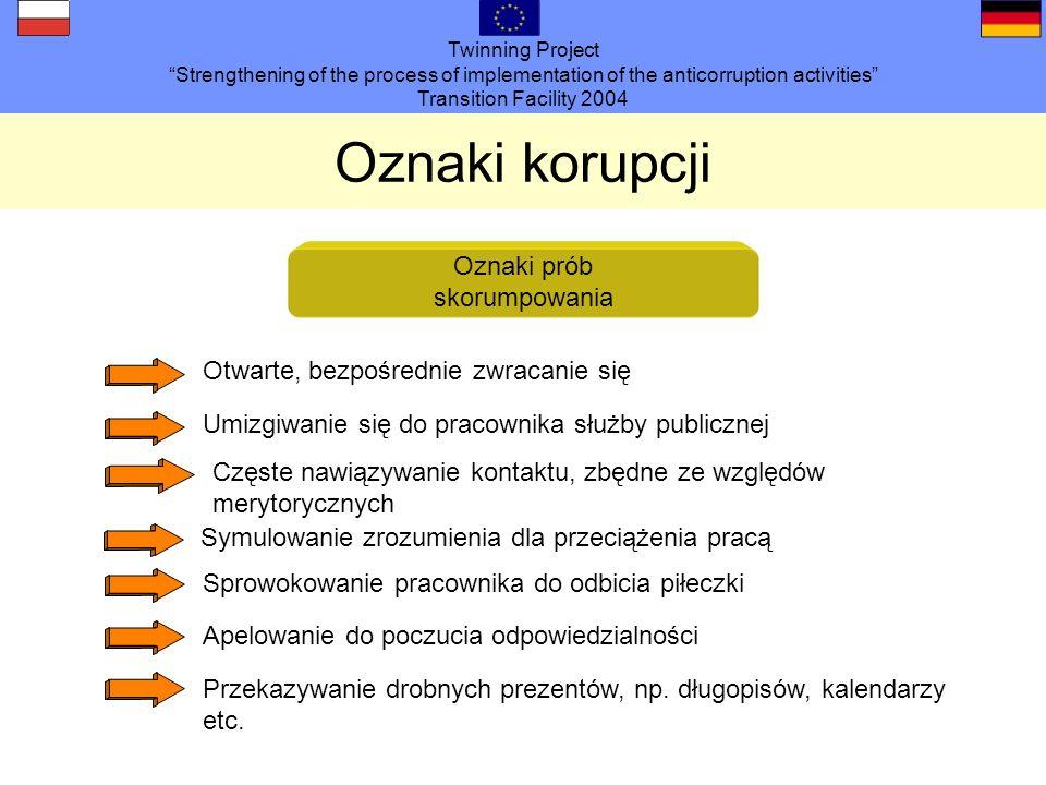 Twinning Project Strengthening of the process of implementation of the anticorruption activities Transition Facility 2004 Oznaki korupcji Oznaki prób skorumpowania Otwarte, bezpośrednie zwracanie się Umizgiwanie się do pracownika służby publicznej Częste nawiązywanie kontaktu, zbędne ze względów merytorycznych Symulowanie zrozumienia dla przeciążenia pracą Sprowokowanie pracownika do odbicia piłeczki Apelowanie do poczucia odpowiedzialności Przekazywanie drobnych prezentów, np.