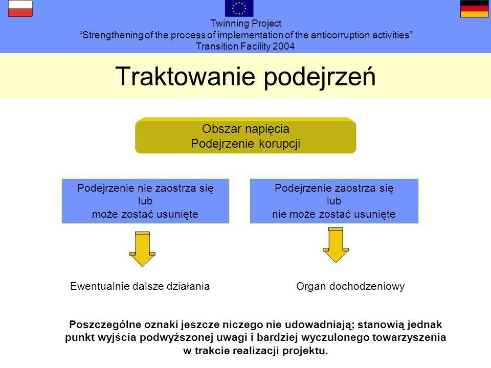 Twinning Project Strengthening of the process of implementation of the anticorruption activities Transition Facility 2004 Traktowanie podejrzeń Poszczególne oznaki jeszcze niczego nie udowadniają; stanowią jednak punkt wyjścia podwyższonej uwagi i bardziej wyczulonego towarzyszenia w trakcie realizacji projektu.