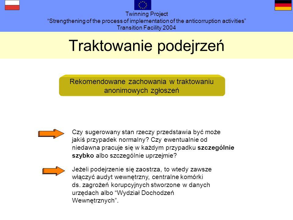 Twinning Project Strengthening of the process of implementation of the anticorruption activities Transition Facility 2004 Traktowanie podejrzeń Rekomendowane zachowania w traktowaniu anonimowych zgłoszeń Czy sugerowany stan rzeczy przedstawia być może jakiś przypadek normalny.