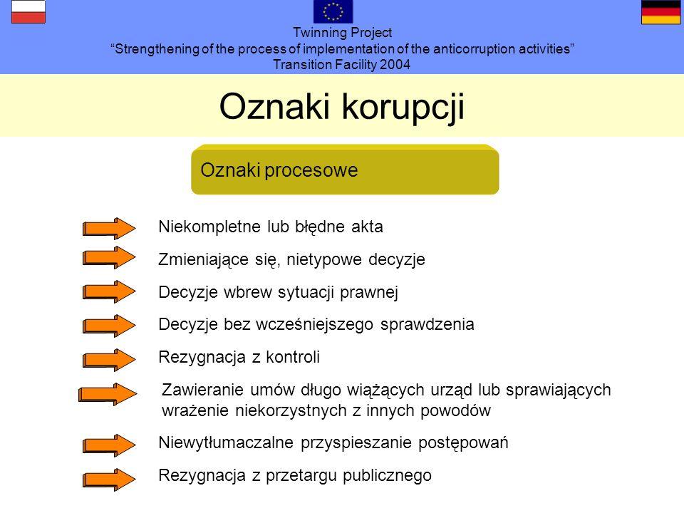 Twinning Project Strengthening of the process of implementation of the anticorruption activities Transition Facility 2004 Oznaki korupcji Zmieniające się, nietypowe decyzje Decyzje wbrew sytuacji prawnej Decyzje bez wcześniejszego sprawdzenia Rezygnacja z kontroli Zawieranie umów długo wiążących urząd lub sprawiających wrażenie niekorzystnych z innych powodów Niewytłumaczalne przyspieszanie postępowań Rezygnacja z przetargu publicznego Oznaki procesowe Niekompletne lub błędne akta