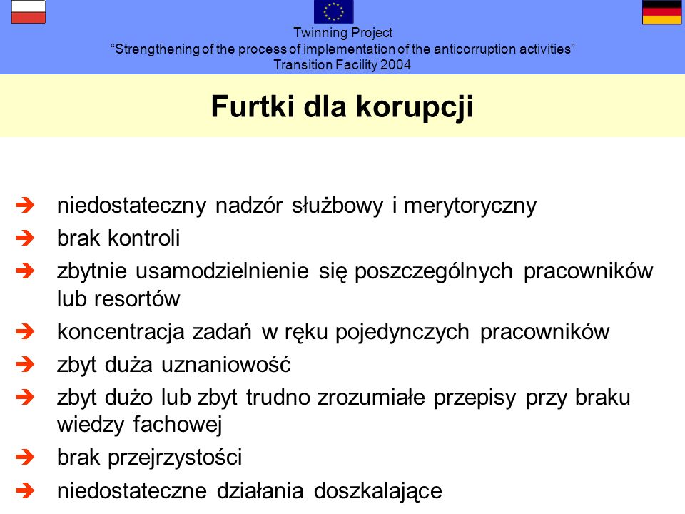 Twinning Project Strengthening of the process of implementation of the anticorruption activities Transition Facility 2004 Furtki dla korupcji niedosta