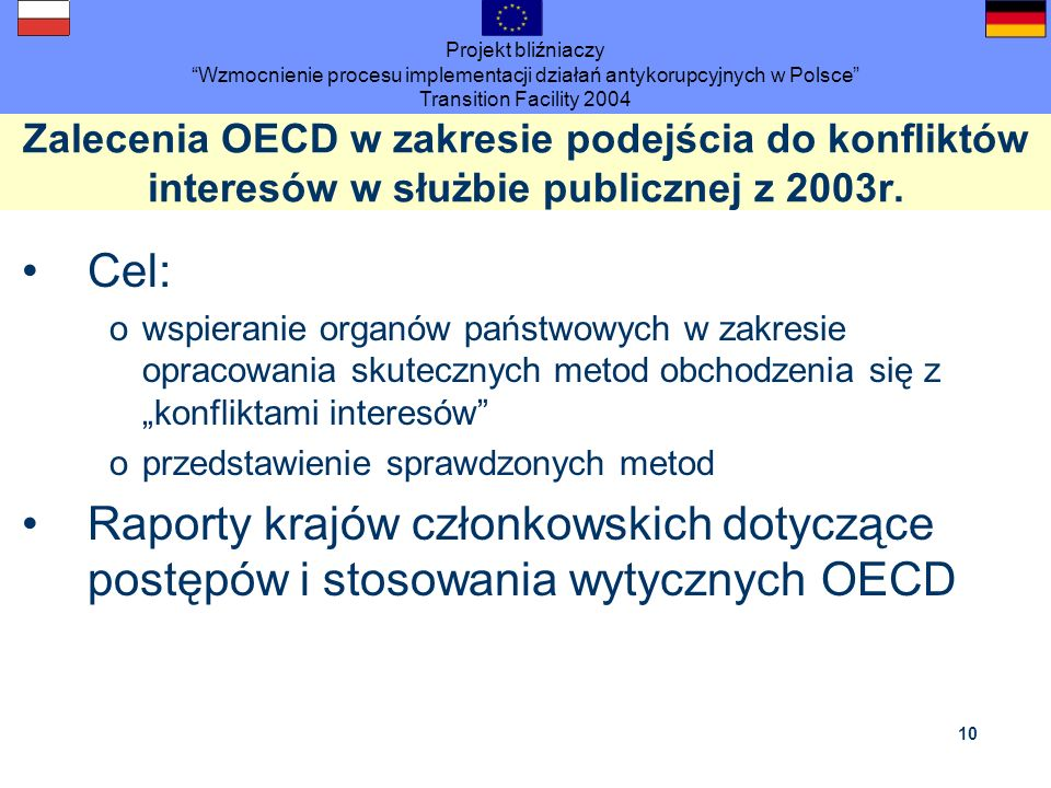 Projekt bliźniaczy Wzmocnienie procesu implementacji działań antykorupcyjnych w Polsce Transition Facility 2004 10 Zalecenia OECD w zakresie podejścia