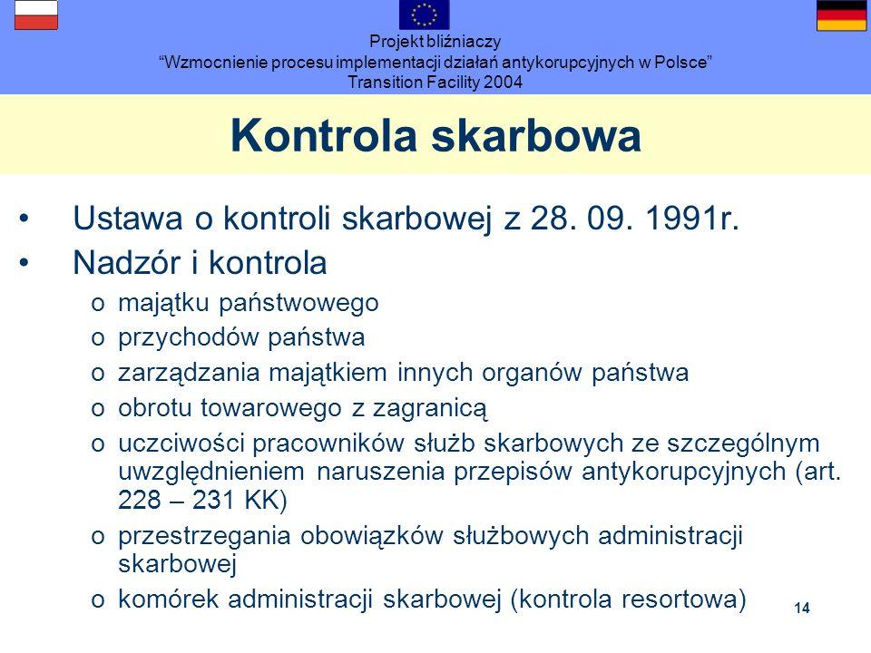 Projekt bliźniaczy Wzmocnienie procesu implementacji działań antykorupcyjnych w Polsce Transition Facility 2004 14 Kontrola skarbowa Ustawa o kontroli