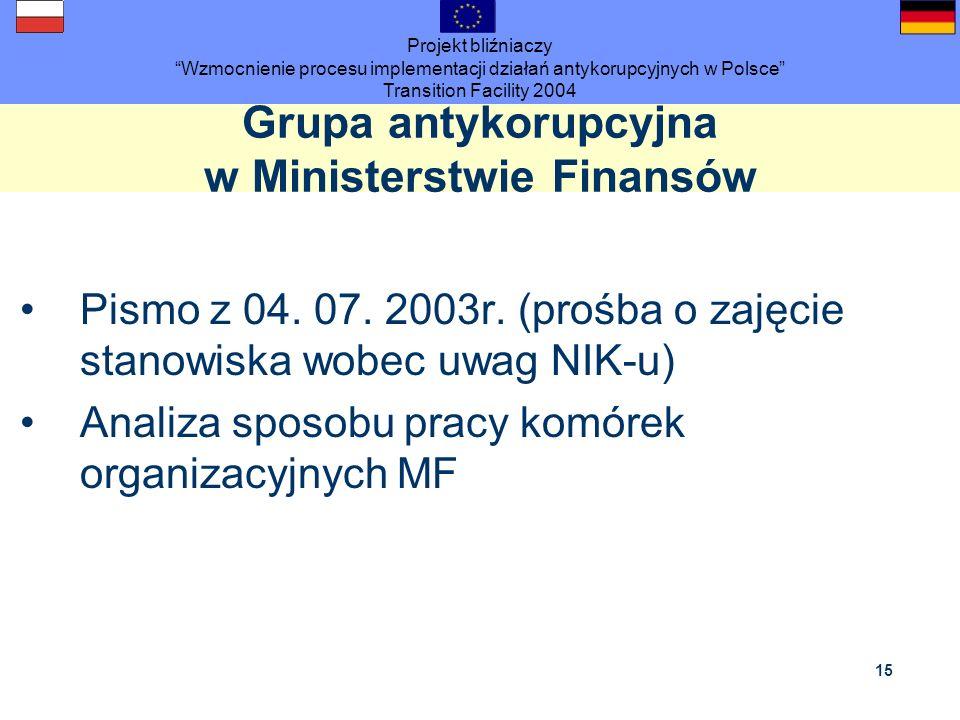 Projekt bliźniaczy Wzmocnienie procesu implementacji działań antykorupcyjnych w Polsce Transition Facility 2004 15 Grupa antykorupcyjna w Ministerstwi
