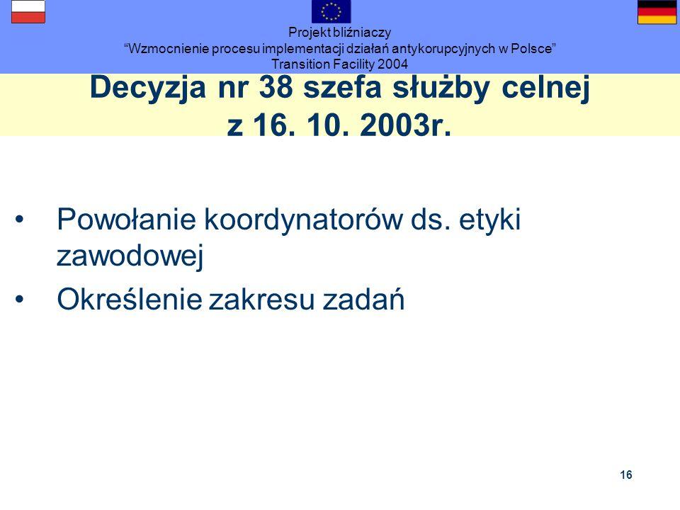 Projekt bliźniaczy Wzmocnienie procesu implementacji działań antykorupcyjnych w Polsce Transition Facility 2004 16 Decyzja nr 38 szefa służby celnej z