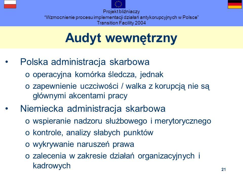 Projekt bliźniaczy Wzmocnienie procesu implementacji działań antykorupcyjnych w Polsce Transition Facility 2004 21 Audyt wewnętrzny Polska administrac
