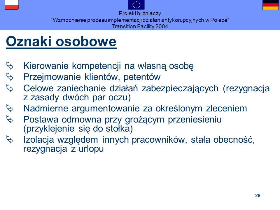 Projekt bliźniaczy Wzmocnienie procesu implementacji działań antykorupcyjnych w Polsce Transition Facility 2004 29 Oznaki osobowe Kierowanie kompetenc