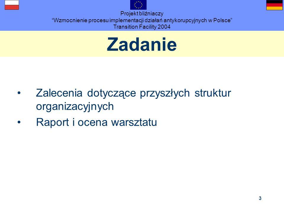 Projekt bliźniaczy Wzmocnienie procesu implementacji działań antykorupcyjnych w Polsce Transition Facility 2004 3 Zadanie Zalecenia dotyczące przyszły