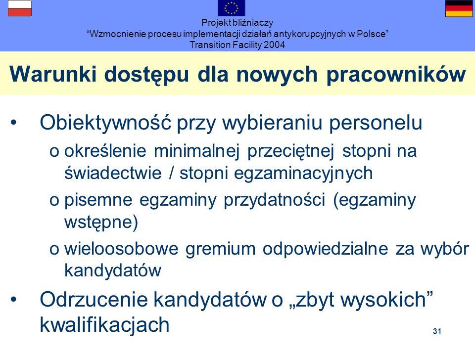 Projekt bliźniaczy Wzmocnienie procesu implementacji działań antykorupcyjnych w Polsce Transition Facility 2004 31 Warunki dostępu dla nowych pracowni