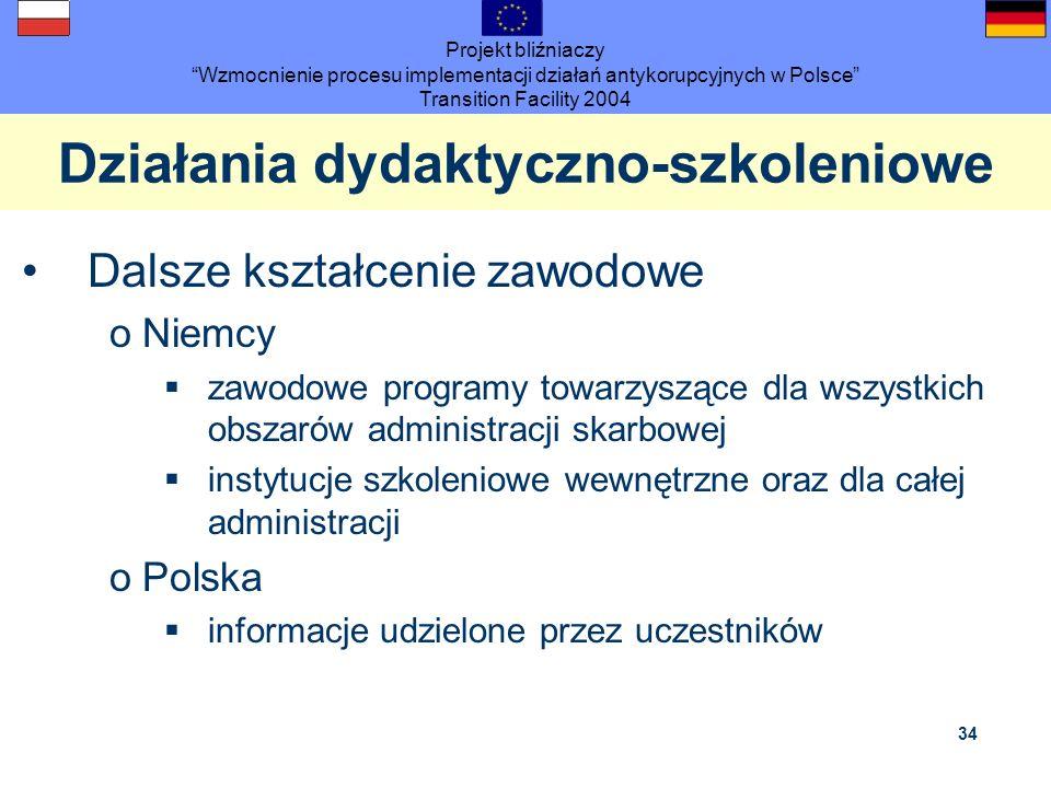 Projekt bliźniaczy Wzmocnienie procesu implementacji działań antykorupcyjnych w Polsce Transition Facility 2004 34 Działania dydaktyczno-szkoleniowe D