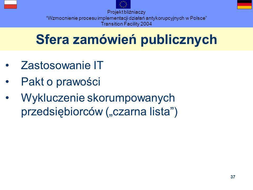 Projekt bliźniaczy Wzmocnienie procesu implementacji działań antykorupcyjnych w Polsce Transition Facility 2004 37 Sfera zamówień publicznych Zastosow