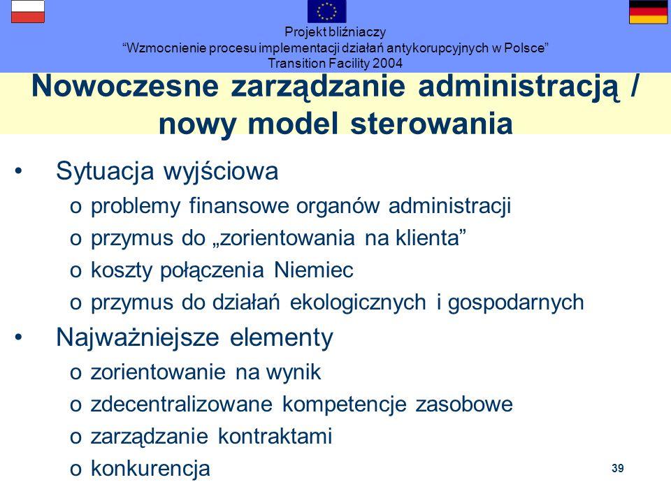 Projekt bliźniaczy Wzmocnienie procesu implementacji działań antykorupcyjnych w Polsce Transition Facility 2004 39 Nowoczesne zarządzanie administracj