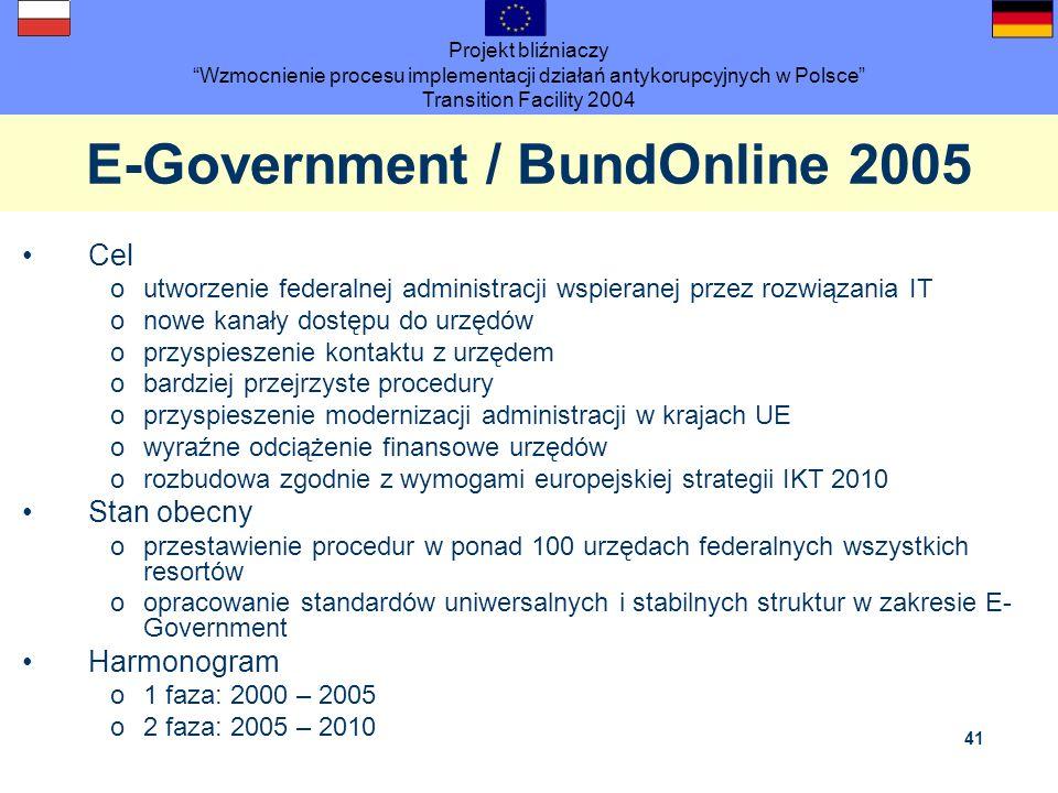Projekt bliźniaczy Wzmocnienie procesu implementacji działań antykorupcyjnych w Polsce Transition Facility 2004 41 E-Government / BundOnline 2005 Cel