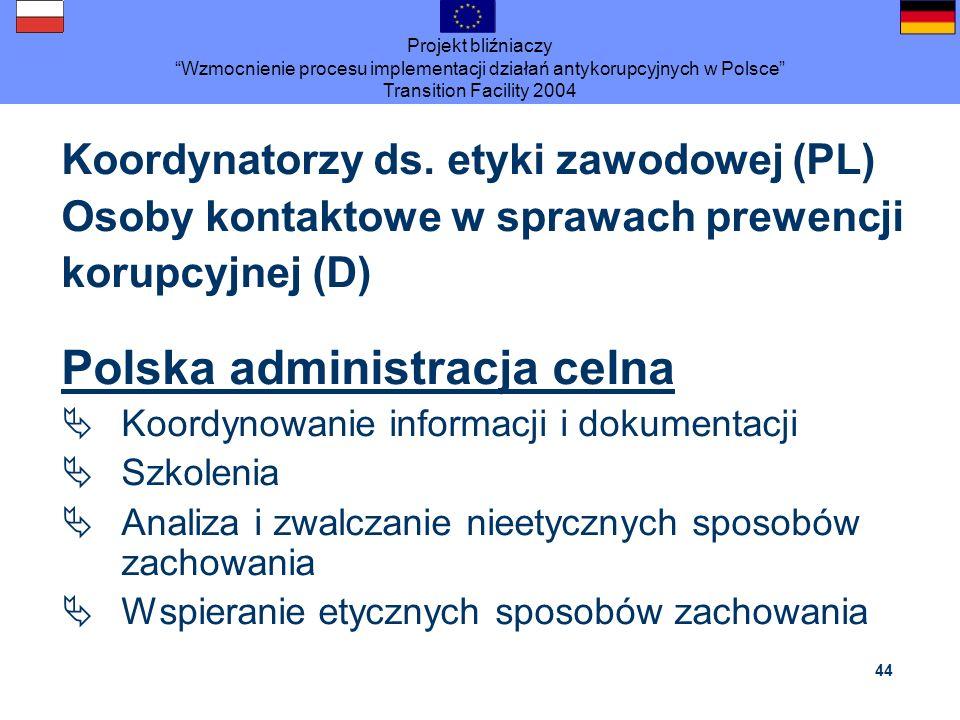 Projekt bliźniaczy Wzmocnienie procesu implementacji działań antykorupcyjnych w Polsce Transition Facility 2004 44 Koordynatorzy ds. etyki zawodowej (