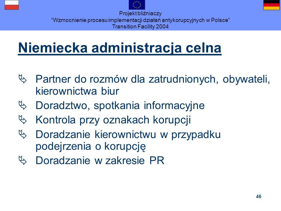 Projekt bliźniaczy Wzmocnienie procesu implementacji działań antykorupcyjnych w Polsce Transition Facility 2004 46 Niemiecka administracja celna Partn