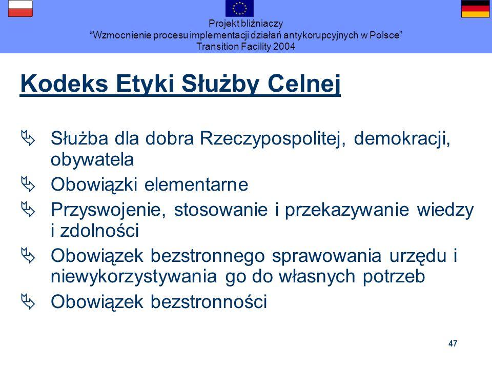 Projekt bliźniaczy Wzmocnienie procesu implementacji działań antykorupcyjnych w Polsce Transition Facility 2004 47 Kodeks Etyki Służby Celnej Służba d
