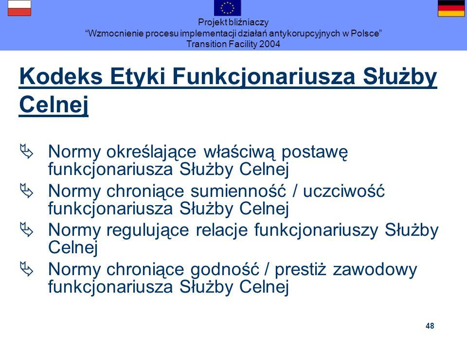 Projekt bliźniaczy Wzmocnienie procesu implementacji działań antykorupcyjnych w Polsce Transition Facility 2004 48 Kodeks Etyki Funkcjonariusza Służby