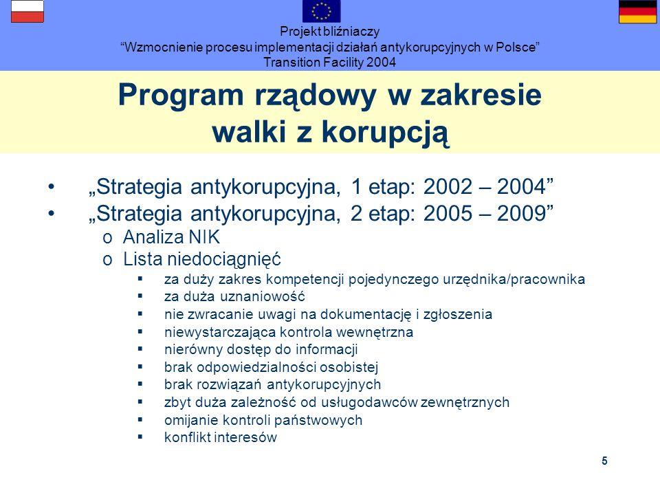 Projekt bliźniaczy Wzmocnienie procesu implementacji działań antykorupcyjnych w Polsce Transition Facility 2004 5 Program rządowy w zakresie walki z k