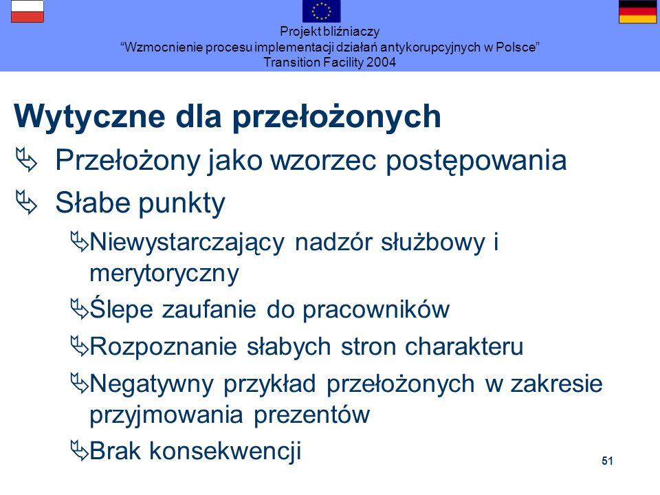 Projekt bliźniaczy Wzmocnienie procesu implementacji działań antykorupcyjnych w Polsce Transition Facility 2004 51 Wytyczne dla przełożonych Przełożon
