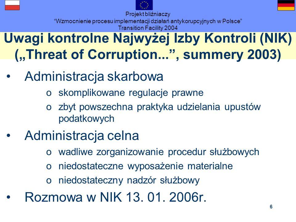 Projekt bliźniaczy Wzmocnienie procesu implementacji działań antykorupcyjnych w Polsce Transition Facility 2004 6 Uwagi kontrolne Najwyżej Izby Kontro