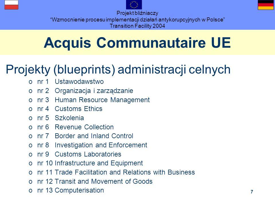 Projekt bliźniaczy Wzmocnienie procesu implementacji działań antykorupcyjnych w Polsce Transition Facility 2004 7 Acquis Communautaire UE Projekty (bl
