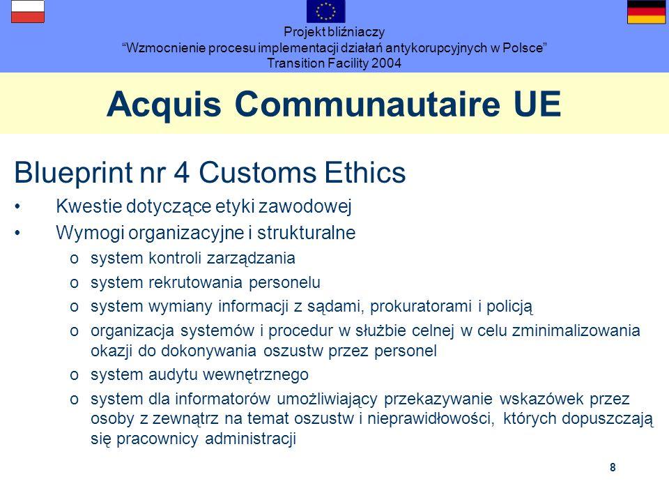 Projekt bliźniaczy Wzmocnienie procesu implementacji działań antykorupcyjnych w Polsce Transition Facility 2004 8 Acquis Communautaire UE Blueprint nr