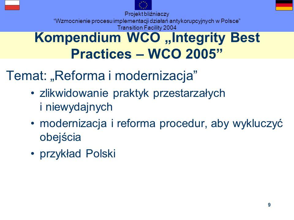 Projekt bliźniaczy Wzmocnienie procesu implementacji działań antykorupcyjnych w Polsce Transition Facility 2004 9 Kompendium WCO Integrity Best Practi