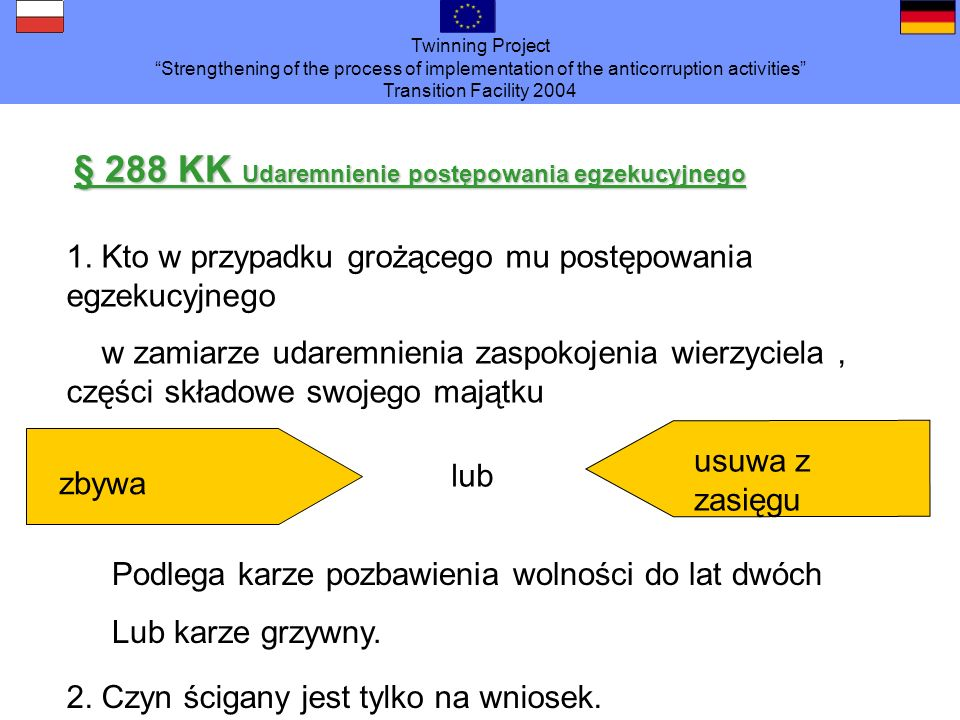 Twinning Project Strengthening of the process of implementation of the anticorruption activities Transition Facility 2004 § 288 KK Udaremnienie postęp