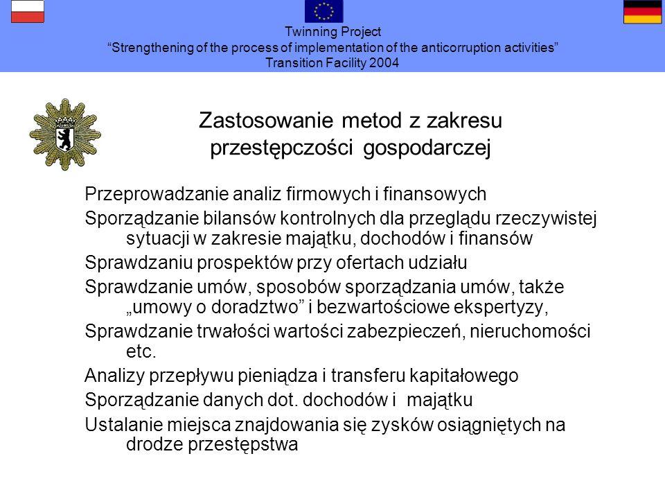 Twinning Project Strengthening of the process of implementation of the anticorruption activities Transition Facility 2004 Zastosowanie metod z zakresu przestępczości gospodarczej Przeprowadzanie analiz firmowych i finansowych Sporządzanie bilansów kontrolnych dla przeglądu rzeczywistej sytuacji w zakresie majątku, dochodów i finansów Sprawdzaniu prospektów przy ofertach udziału Sprawdzanie umów, sposobów sporządzania umów, także umowy o doradztwo i bezwartościowe ekspertyzy, Sprawdzanie trwałości wartości zabezpieczeń, nieruchomości etc.