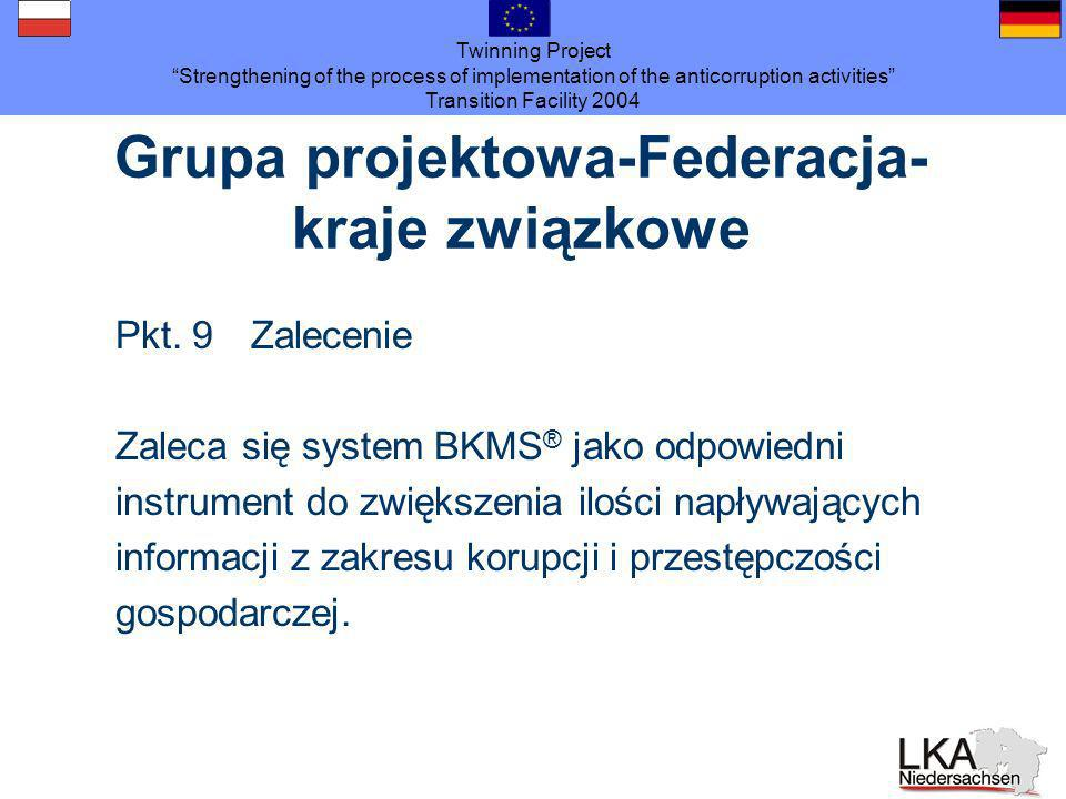 Twinning Project Strengthening of the process of implementation of the anticorruption activities Transition Facility 2004 Grupa projektowa-Federacja- kraje związkowe Pkt.