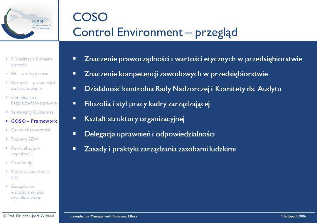 © Prof. Dr. habil. Josef Wieland Compliance Management i Business Ethics9 listopad 2006 COSO Control Environment – przegląd Znaczenie praworządności i