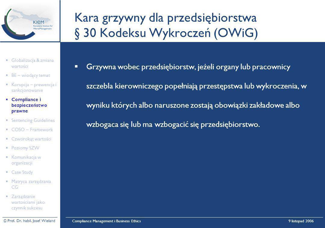© Prof. Dr. habil. Josef Wieland Compliance Management i Business Ethics9 listopad 2006 Kara grzywny dla przedsiębiorstwa § 30 Kodeksu Wykroczeń (OWiG
