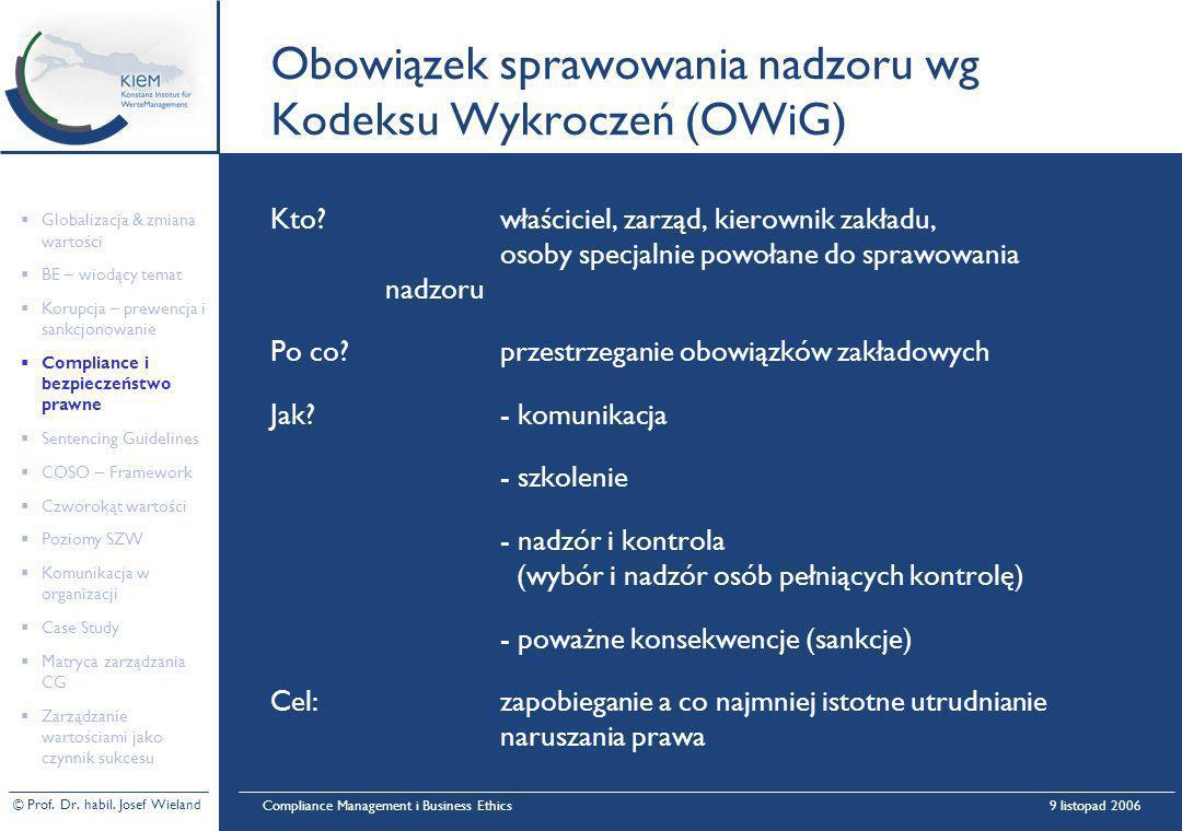 © Prof. Dr. habil. Josef Wieland Compliance Management i Business Ethics9 listopad 2006 Obowiązek sprawowania nadzoru wg Kodeksu Wykroczeń (OWiG) Kto?