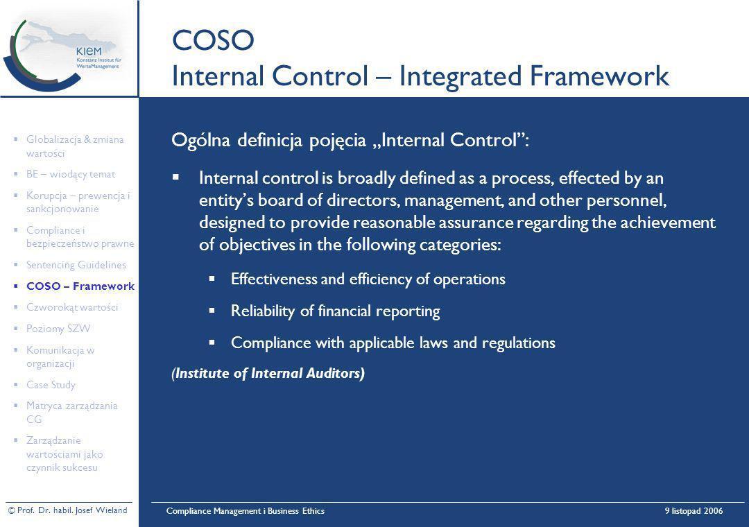 © Prof. Dr. habil. Josef Wieland Compliance Management i Business Ethics9 listopad 2006 COSO Internal Control – Integrated Framework Ogólna definicja
