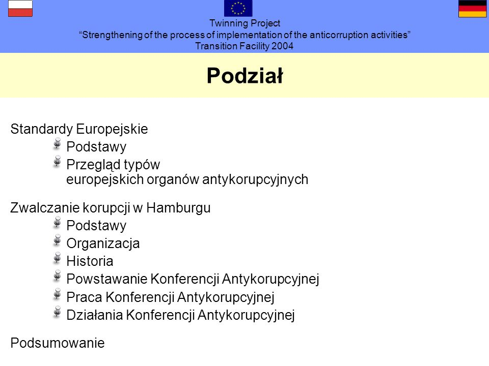 Twinning Project Strengthening of the process of implementation of the anticorruption activities Transition Facility 2004 Żądania Grupa robocza proponuje, aby stworzyć forum interdyscyplinarne.