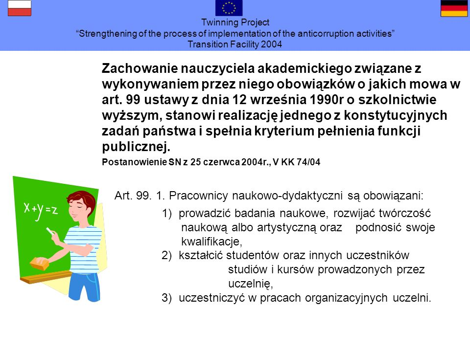 Twinning Project Strengthening of the process of implementation of the anticorruption activities Transition Facility 2004 Zachowanie nauczyciela akade
