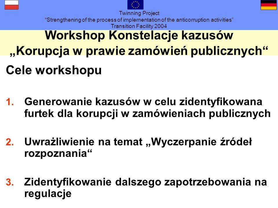 Twinning Project Strengthening of the process of implementation of the anticorruption activities Transition Facility 2004 Workshop Konstelacje kazusówKorupcja w prawie zamówień publicznych Cele workshopu 1.