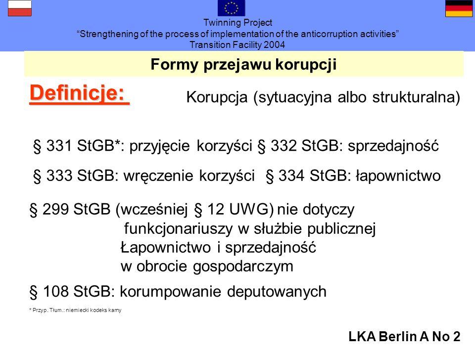 Twinning Project Strengthening of the process of implementation of the anticorruption activities Transition Facility 2004 LKA Berlin A No 2 Formy przejawu korupcji Definicje: Korupcja (sytuacyjna albo strukturalna) § 331 StGB*: przyjęcie korzyści§ 332 StGB: sprzedajność § 333 StGB: wręczenie korzyści § 334 StGB: łapownictwo § 299 StGB (wcześniej § 12 UWG) nie dotyczy funkcjonariuszy w służbie publicznej Łapownictwo i sprzedajność w obrocie gospodarczym § 108 StGB: korumpowanie deputowanych * Przyp.