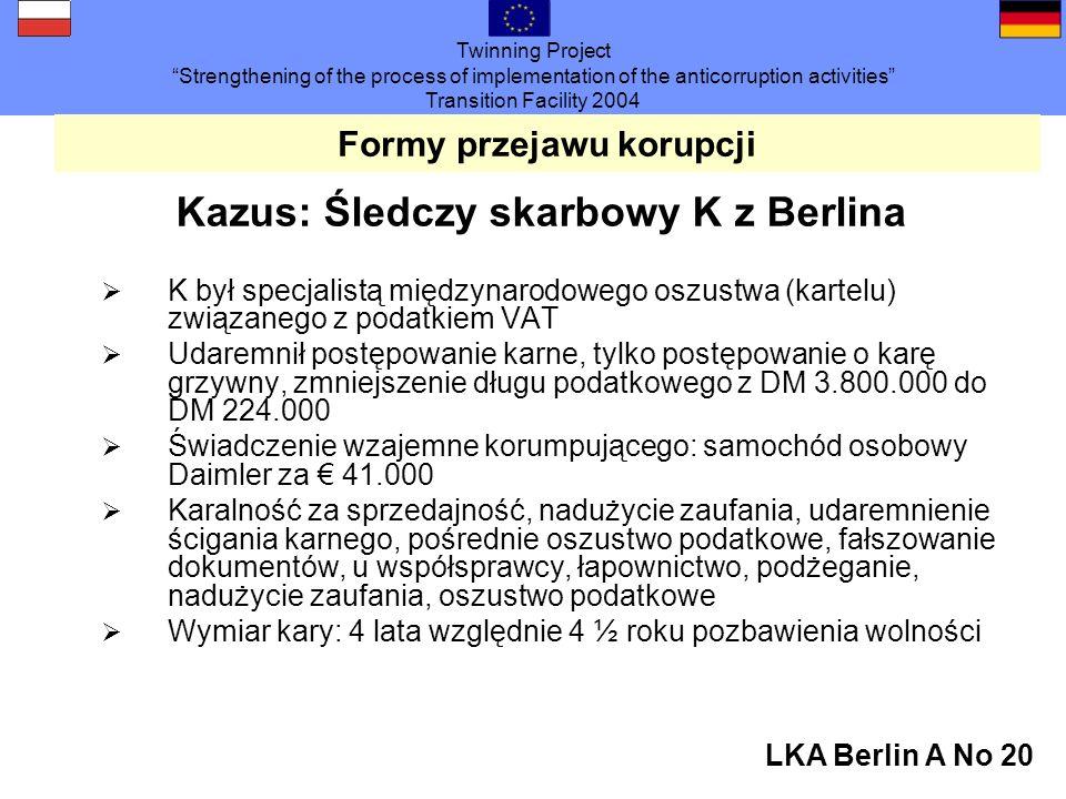Twinning Project Strengthening of the process of implementation of the anticorruption activities Transition Facility 2004 LKA Berlin A No 20 Formy przejawu korupcji Kazus: Śledczy skarbowy K z Berlina K był specjalistą międzynarodowego oszustwa (kartelu) związanego z podatkiem VAT Udaremnił postępowanie karne, tylko postępowanie o karę grzywny, zmniejszenie długu podatkowego z DM 3.800.000 do DM 224.000 Świadczenie wzajemne korumpującego: samochód osobowy Daimler za 41.000 Karalność za sprzedajność, nadużycie zaufania, udaremnienie ścigania karnego, pośrednie oszustwo podatkowe, fałszowanie dokumentów, u współsprawcy, łapownictwo, podżeganie, nadużycie zaufania, oszustwo podatkowe Wymiar kary: 4 lata względnie 4 ½ roku pozbawienia wolności