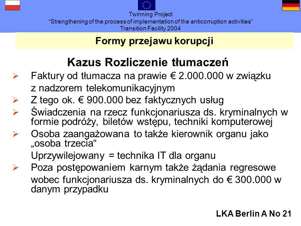Twinning Project Strengthening of the process of implementation of the anticorruption activities Transition Facility 2004 LKA Berlin A No 21 Formy przejawu korupcji Kazus Rozliczenie tłumaczeń Faktury od tłumacza na prawie 2.000.000 w związku z nadzorem telekomunikacyjnym Z tego ok.