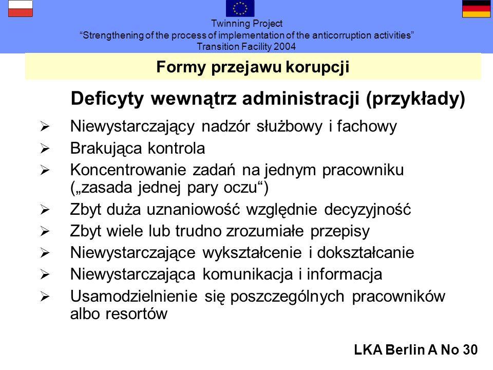 Twinning Project Strengthening of the process of implementation of the anticorruption activities Transition Facility 2004 LKA Berlin A No 30 Formy przejawu korupcji Deficyty wewnątrz administracji (przykłady) Niewystarczający nadzór służbowy i fachowy Brakująca kontrola Koncentrowanie zadań na jednym pracowniku (zasada jednej pary oczu) Zbyt duża uznaniowość względnie decyzyjność Zbyt wiele lub trudno zrozumiałe przepisy Niewystarczające wykształcenie i dokształcanie Niewystarczająca komunikacja i informacja Usamodzielnienie się poszczególnych pracowników albo resortów