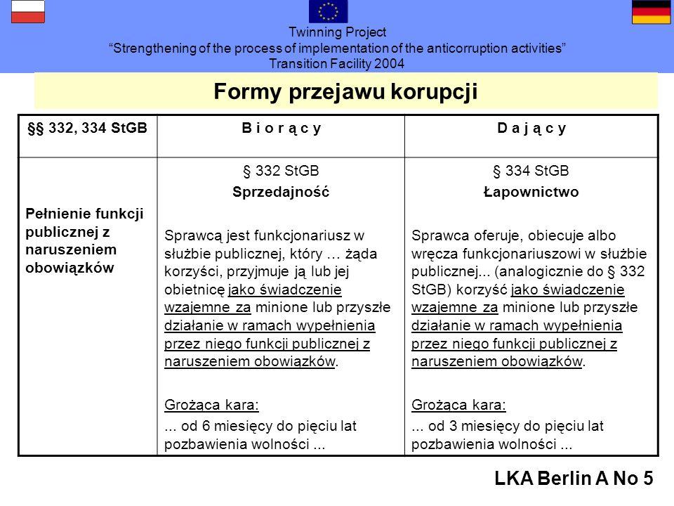 Twinning Project Strengthening of the process of implementation of the anticorruption activities Transition Facility 2004 LKA Berlin A No 5 Formy przejawu korupcji §§ 332, 334 StGBB i o r ą c yD a j ą c y Pełnienie funkcji publicznej z naruszeniem obowiązków § 332 StGB Sprzedajność Sprawcą jest funkcjonariusz w służbie publicznej, który … żąda korzyści, przyjmuje ją lub jej obietnicę jako świadczenie wzajemne za minione lub przyszłe działanie w ramach wypełnienia przez niego funkcji publicznej z naruszeniem obowiązków.