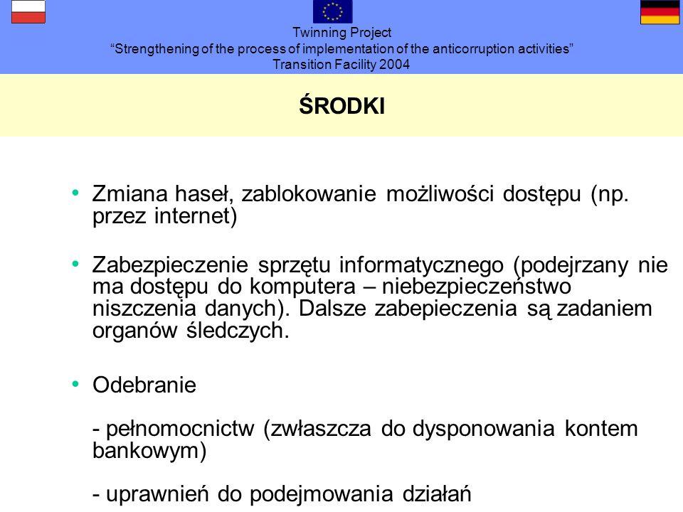 Twinning Project Strengthening of the process of implementation of the anticorruption activities Transition Facility 2004 ŚRODKI Odebranie - uprawnień do podpisywania - legitymacji służbowych - uprawnień dostępu - kluczy - ubrania służbowego