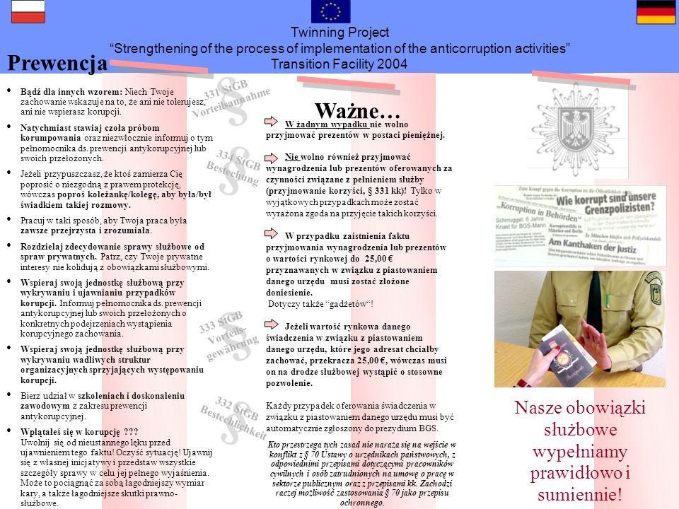 Twinning Project Strengthening of the process of implementation of the anticorruption activities Transition Facility 2004 Osoba kontaktowa Sygnały ostrzegawcze Korupcja szkodzi wszystkim.