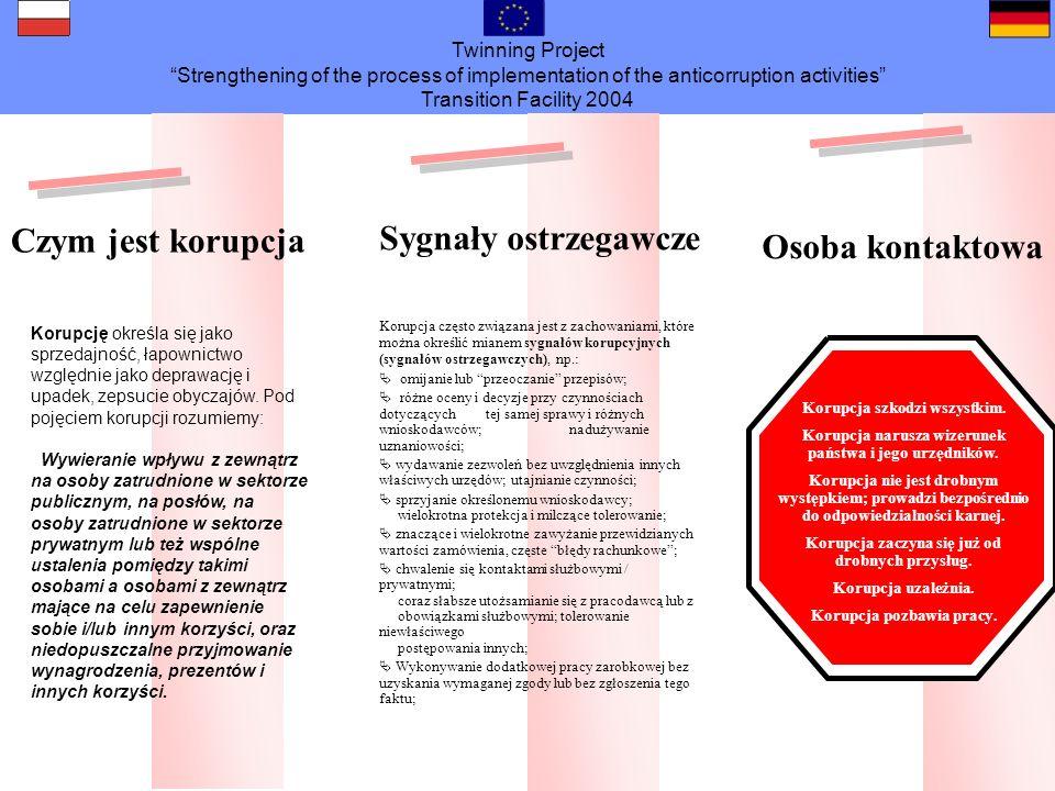 Twinning Project Strengthening of the process of implementation of the anticorruption activities Transition Facility 2004 Czy masz jeszcze jakieś pytania?......