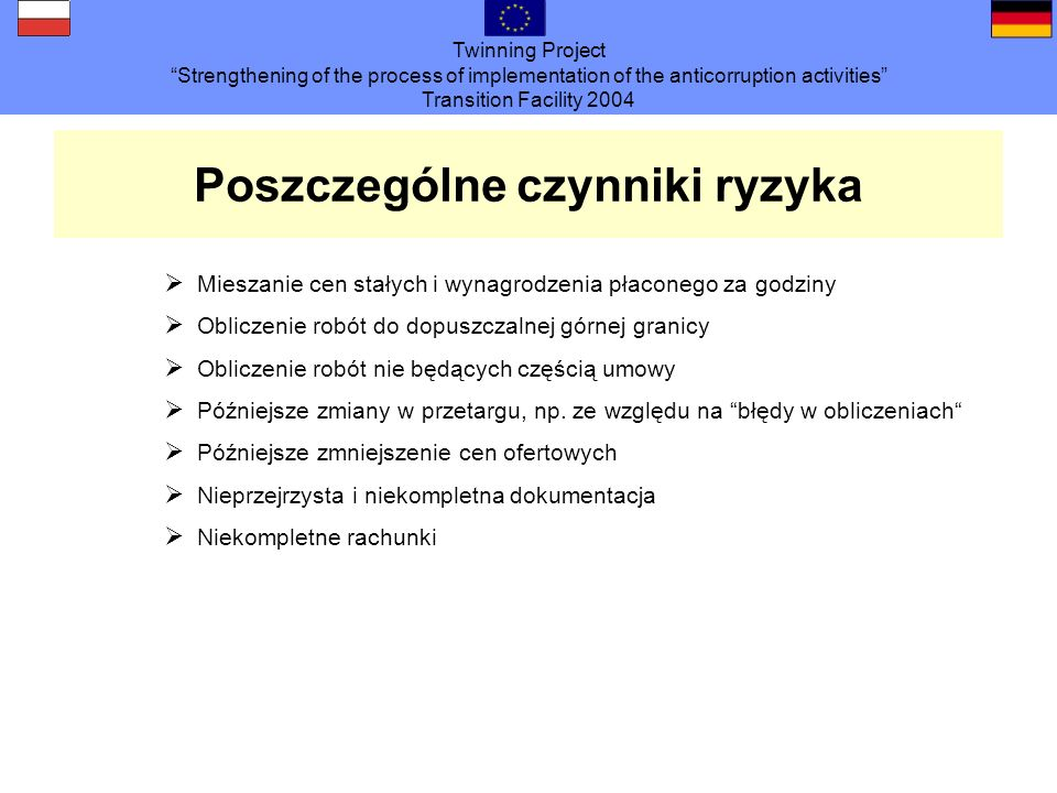 Twinning Project Strengthening of the process of implementation of the anticorruption activities Transition Facility 2004 Poszczególne czynniki ryzyka