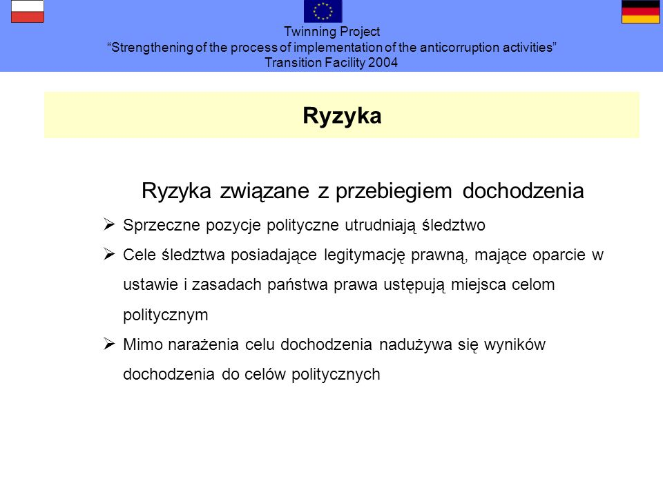 Twinning Project Strengthening of the process of implementation of the anticorruption activities Transition Facility 2004 Ryzyka Ryzyka związane z prz