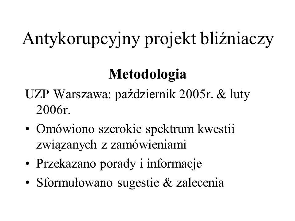 Cele Ocena obecnych praktyk Identyfikacja problemów Analiza problemów w obszarze zamówień publicznych oraz w UZP, mająca na celu skuteczne wdrożenie Strategii Antykorupcyjnej w odniesieniu do zamówień publicznych Antykorupcyjny projekt bliźniaczy