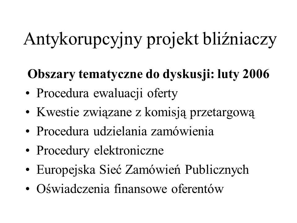 Antykorupcyjny projekt bliźniaczy październik 2005 Prawo zamówień publicznych Przepisy prawne a wytyczne Przykłady polityk w zakresie etyki